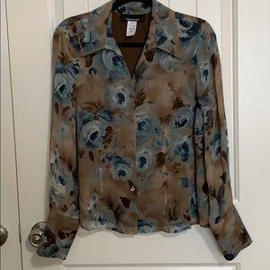 JNY. Silk blouse. Plus. 14. Floral. Large collar